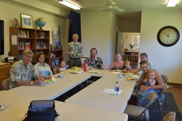 New Member Luncheon. Oliver & Marcia Stafford Pastor Barber Troy & Ali Dauler and Children Brian & Megan Pearl with Saylor